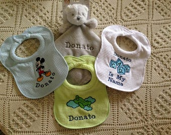 "Monogrammed Bib---""Minnie""  ""Mickey""  ""Airplane""   ""Baby Blocks (Pink or Blue)""   ""Mickey & Minnie"""