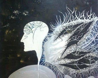 """original oil painting, surrealism """"dreaming outsid the egg"""""""