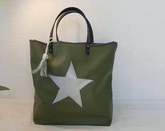 Handbag green with silver star - leather handles