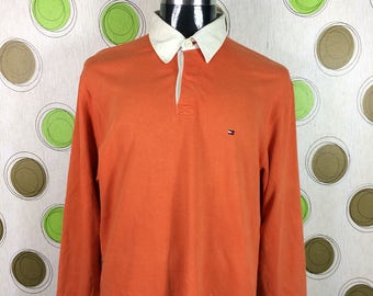 Vintage Tommy Hilfiger Rugby Polo Orange Long Sleeve