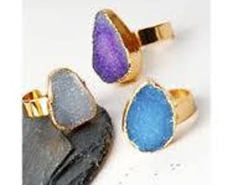 Natural Blue Druzy round Stone Ring