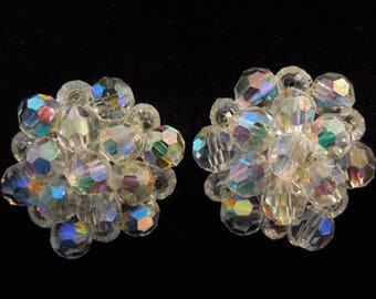 earrings vintage aurora borealis beads  clip