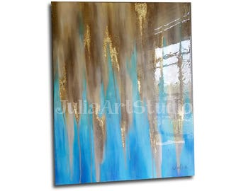 "Abstract painting, Blue Gold painting, Original canvas art, Gold leaf, glass look epoxy resin coating, 22""x28"""