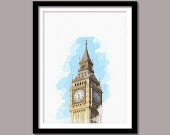 Big Ben London Print, Big Ben Digital Print, Big Ben Art, Landmark Print, Watercolor Painting, Big Ben London, Big Ben London Printable Art