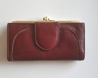 Burgundy Leather Buxton Wallet