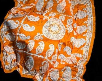 Orange scarf with white butas