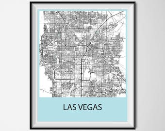 Las Vegas Map Poster Print - Black and White