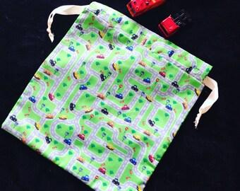 Handmade drawstring roadmap bag