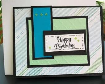Happy Birthday Greeting Card, Happy Birthday for Him Card, Birthday Card for Him, Blue and Green Birthday Card, Custom Birthday Card