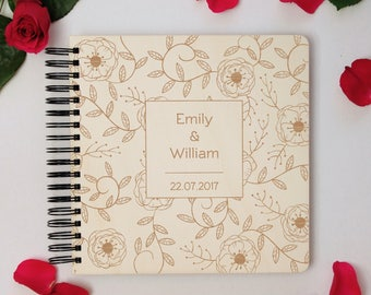 Personalized Wedding Photo Album, Wooden Elegant Photo Book, Customize Anniversary Gift For Parents, Family Photo Keepsake, Gift For Mother