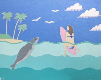 Original Acrylic Painting on a 14inch x18inch canvas, Surf Art, Surfing Art, Beach Art, Surf Decor, Ocean Art, Home Decor, Surfer Girl