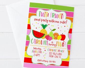 Tutti Fruitti Birthday Invitation - Two-ti Fruity Birthday - Tutti Fruity Birthday Invite - Digital/Printable OR Printed & Shipped!