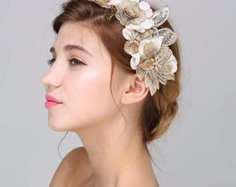 Gold and cream flower hair piece