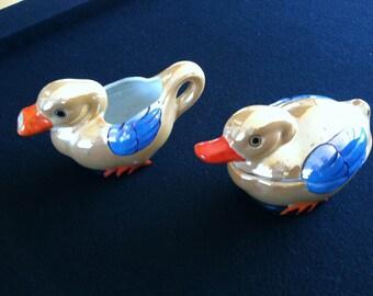 Japan Lusterware Duck Cream  & Sugar
