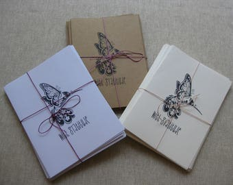 6 Handmade Hummingbird blank notecard set