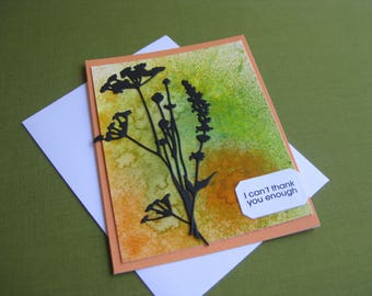 Handmade Thank You  Card Wildflowers - I can't thank you enough