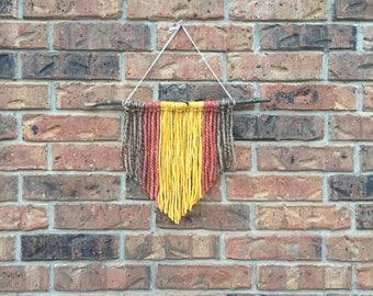 Wool Yarn Wall Hanging // Small // Brown, Yellow, Salmon