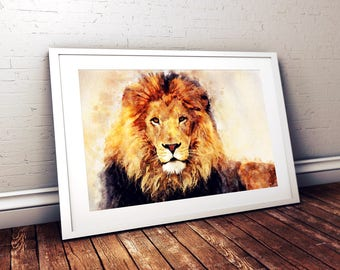 African Lion Portrait Watercolor Painting Digital Print, Male Lion, Leo, Animal, Wall Art, Artistic Painting, Printable, Instant Download