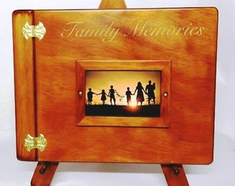 This is a Medium Plain Photo Album, with picture frame, engraving and display easel