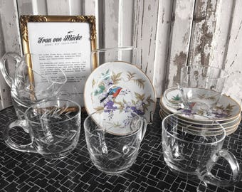 Vintage Teaset tea cups & saucers with bird motif / vintage tea service cups and saucers with bird motif