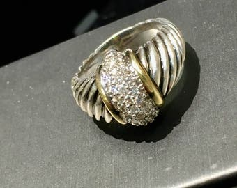 Authentic David Yurman Diamond Spiral Designer Dome Ring