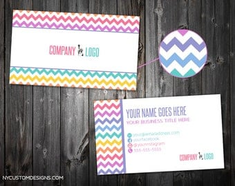 Chevron Pattern Design | Colored Lines | Double Sided Business Card | Standard Size 3.5 x 2 | Personalized