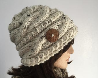 Women Knit Hat Cream Cable Hat With  Button Winter Women Hat Womens Accessories Fall Fashion