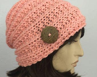 Women Knit Hat Pink Hat With Button Winter Women Hat Womens Accessories Fall Fashion
