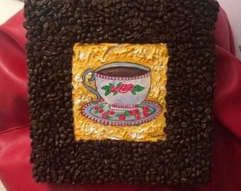 Handmade mixed media art - Coffee