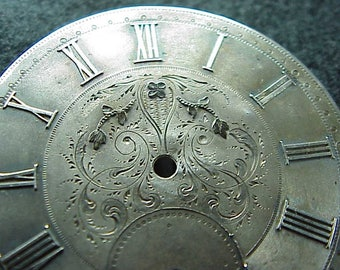 Antique Silver 45 MM Pocket  WATCH DIAL Floral design with some Gold work on Flowers - Roman numberals