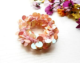 Hair Scrunchie Light Pink Sequins Glass Seed Beads Cotton Embroidery Ponytail Holder Glass Pearl Accessory Pony Tail Wrap Hair Ties Elastic