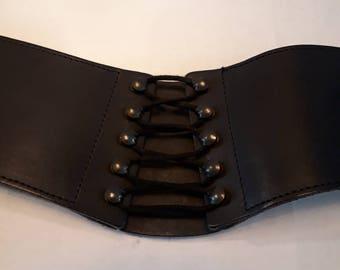 "Girdle Corset/Pirate Belt - Black Leather - Size M - 85cm - 38"" - elastic waist band - lace up look belt - Big Belt"