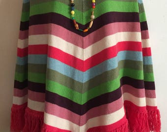 Vintage 80s Benetton Striped Fringed Sweater Cape Poncho Overlay