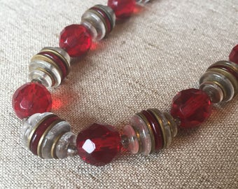 Glass Bead Necklace, Ruby Red, White, Spacer, Vintage