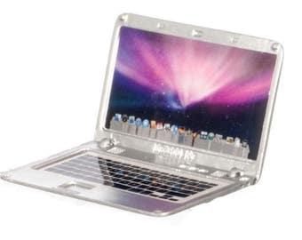 Dollhouse Miniature Silver Laptop 1:12 Scale
