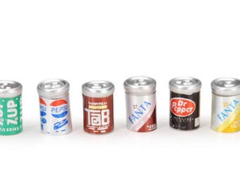 Miniature Dollhouse 6 pack of Assorted Soda Cans 1:12 Scale