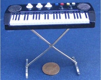 Dollhouse Miniature 1:12 Scale Keyboard on a Stand