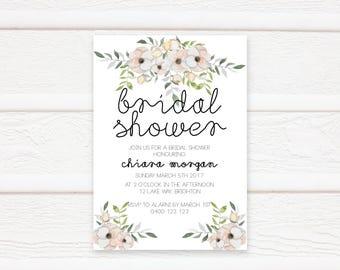 Bridal Shower Invite, Bridal Shower, Floral, Invitation, Kitchen Tea, Invitation Printable