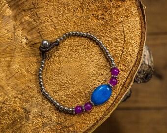 Beaded bracelet brass waxed thread