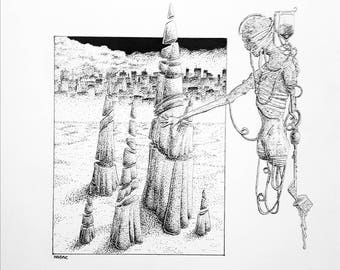 Neohumanoid Ten. Original pen & ink drawing.