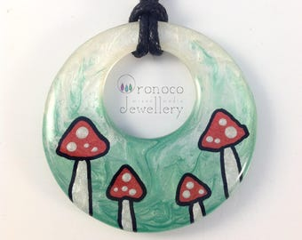 Toadstool necklace, woodland pendant, fly agaric, art necklace, forest jewellery, fairy tale necklace, metal free, large pendant, fantasy