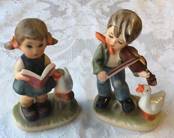 2 Vintage Porcelain Figurines Boy & Girl  Singing made in Japan Hummel Style