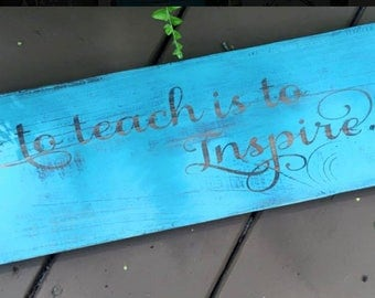 Rustic Wooden Sign Teacher gift