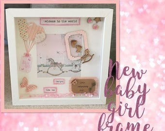 New baby personalised shadow box frame
