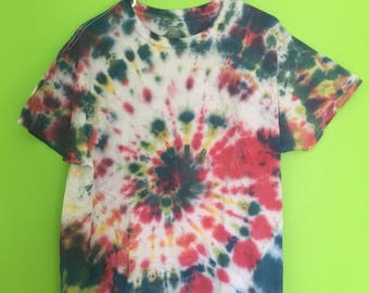 Adult Large Tie Dye T-Shirt-Handmade-Swirl Tie Dye-Blue, Red, Green, Yellow--Cotton