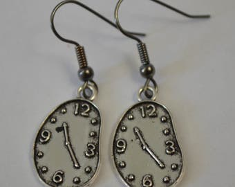 Silver clock earrings