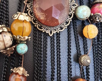Necklace * Bohemian * Natural stones * Pendant * Multilayer * Agate * Turquoise *