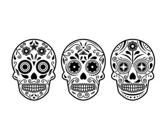 Sugar skull halloween Graphics SVG Dxf EPS Png Cdr Ai Pdf Vector Art Clipart instant download Digital Cut Print File Cricut Silhouette Shirt