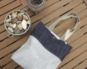handmade tote bag, bag fabric cotton jeans + cactus waterproof fabric