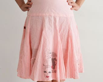 Pink skirt with prints, midi skirt, cotton, Vintage